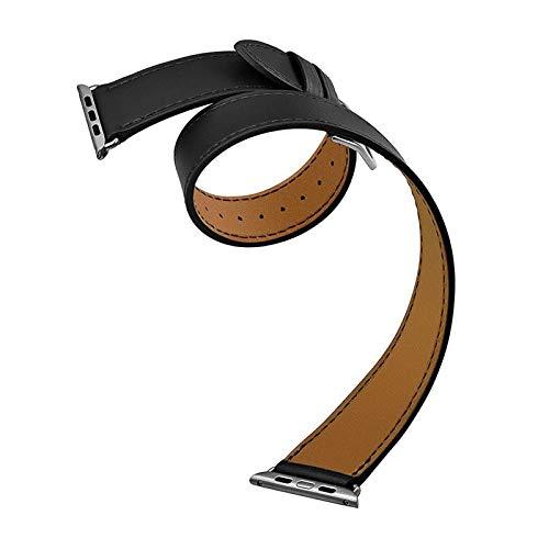 Correa de Cuero Genuino Aplicar a Apple Watch Band 5 42mm / 38mm Iwatch Series 5/4 3 2 1 Bandas de muñeca Pulsera Reemplazo de la Banda de Reloj (Band Color : 42mm Black Double)