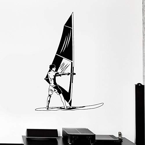 NSRJDSYT Calcomanía de Vinilo para Pared, calcomanía de Vinilo para Pared, Windsurf, windsurfista, Deporte acuático, Ventana, Pegatina, Mural, Papel Tapiz 84x57cm