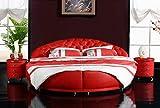 JVmoebel Cama redonda Chesterfield Designer XXL redonda, estructura de cama de matrimonio, cama Royal