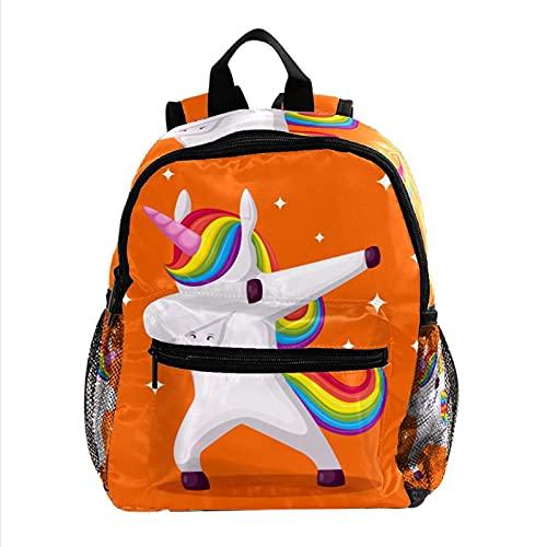 Unicornio Naranja Mochila Ligera para niños Mochila Escolar para niños pequeños Mochila Duradera para Libros Casuales para niñas y niños 25.4x10x30cm