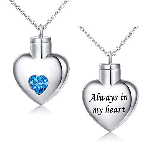 Flyow Cremation Jewelry 925 Sterling Silver Memorial Urn Ashes Keepsake Cylinder Necklace Pendant (Heart)