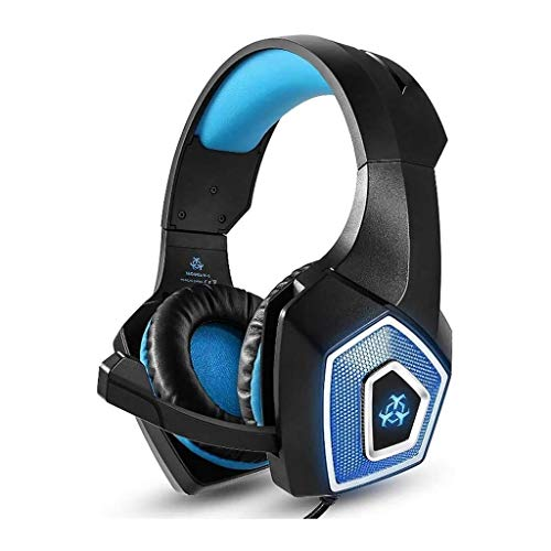 Casques d'écoute de Jeu, 3D Surround Sound, Microphones antibruit et Plus l'oreille Gaming Casques d'écoute avec Doux Stockage Earmuffs (Color : Blue)