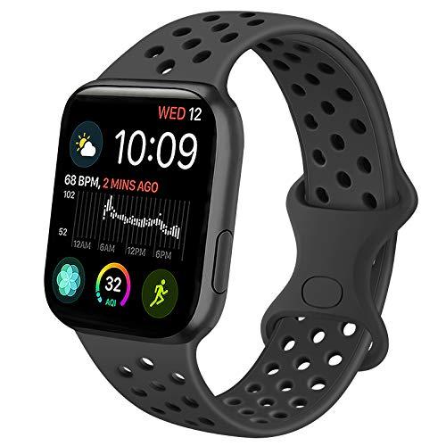 Oumida Kompatibel mit Apple Watch Armband 38mm 42mm 40mm 44mm, Weiche Silikon Sport Ersatz Armband für iWatch Series 6/5/4/3/2/1/SE (42mm/44mm M/L, Schwarz)