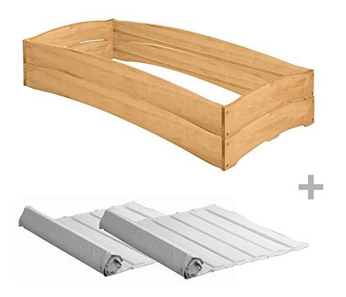 BioKinder 25169 Set van 2 Leandro stapelbedden met 2 lattenbodems van massief hout, 90 x 200 cm.