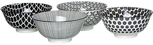 Ritzenhoff & Breker Schalen-Set Takeo, 4-teilig, 15,5 cm Durchmesser, 650 ml, Porzellangeschirr, Schwarz-Weiß