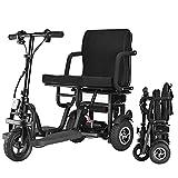 JTYX Klappbarer Elektroroller 3 Rad 350 W Motor, Geschwindigkeit 15 km/h & 40-50 km Langstrecken Leichte tragbare motorisierte Rollstühle für Senioren Mobilitätsroller mit Handicap