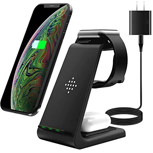 UMEMORY 改良版 ワイヤレス充電器 無線充電器 おくだけ充電 Qiスマホ機種全対応 急速3 in 1充電器 QC3.0アダプター付属 TYPE-C Apple Watchスタンド Airpods充電器/Apple Watch充電器 iPhone X/