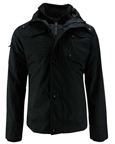 CrossHatch Herren Woodrow Ch Print Collar JKT Jacke, Schwarz (Black Black), Large