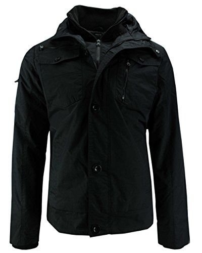 CrossHatch Herren Woodrow Ch Print Collar JKT Jacke, Schwarz (Black Black), Medium