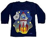 Hariz - Camiseta de manga larga para bebé, diseño de cohete en el espacio del globo astronauta con tarjeta de regalo azul oscuro 6-12 meses