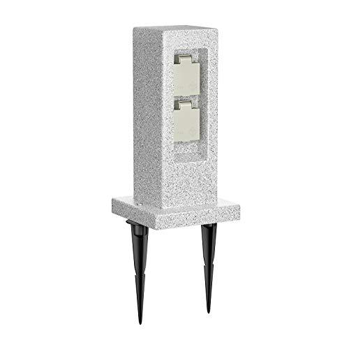 ledscom.de Garten-Steckdosensäule POCK mit Erdspieß Stein-Optik für außen, 2-Fach, Kunstharz, eckig, 30cm