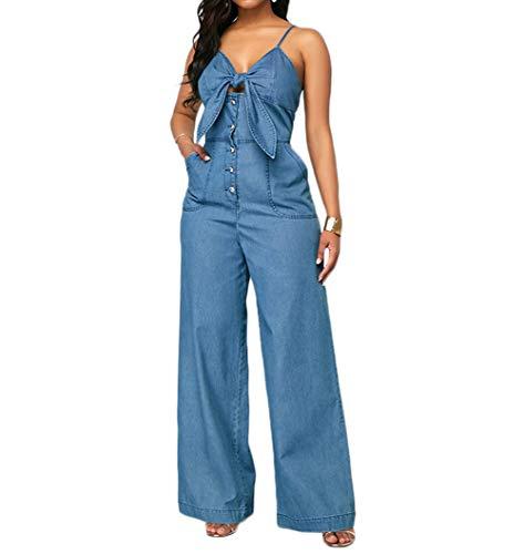 Summersum Women s Denim Jumpsuit Sexy High Waist Wide Leg Long Pants Romper Front Tie Knot Jeans Overalls (Blue, XL)