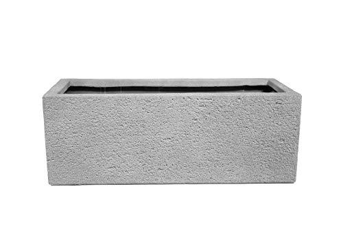 mgc24 Balkonkasten - Stabiler Blumenkasten aus glasfaserverstärktem Kunststoff Steinoptik grau 50 x 20 x 18 cm