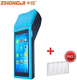 ZHONGJI A2 Handheld POS Terminal Wireless Machine Cash Register with 4G WiFi Scan 1D&2D Code and 2 1/4''(58MM) Thermal Printer,Blue(WiFi Version: Available 2/3G Network)