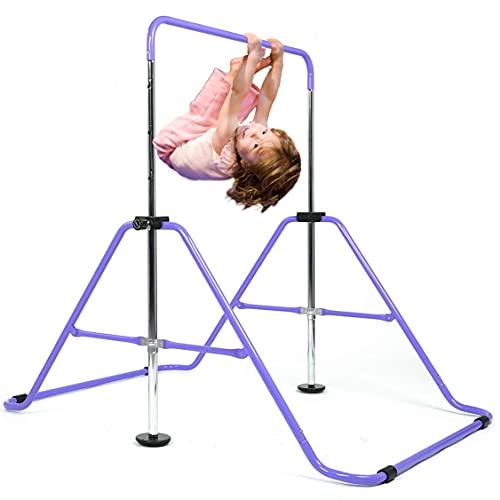 DOBESTS Gymnastics Bar Kids Expandable Gymnastic Bars Equipment for Home Adjustable Height Folding Kip Junior Training Bar 3-7 Years Old (Purple)