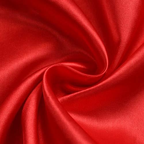 ZXC Tela De Raso Tela SatéN Vestidos Y Manualidades 150 cm De Ancho 1m Se Vende por Metros para Costura ElaboracióN De Ropa Ideal para Elaborar Vestidos para Bodas Graduaciones (Color:Gran Rojo)