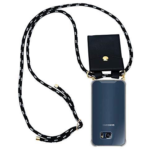 Cadorabo Handy Kette für Samsung Galaxy S6 Edge in SCHWARZ Silber – Silikon Necklace Umhänge Hülle mit Gold Ringen, Kordel Band Schnur und abnehmbarem Etui – Schutzhülle