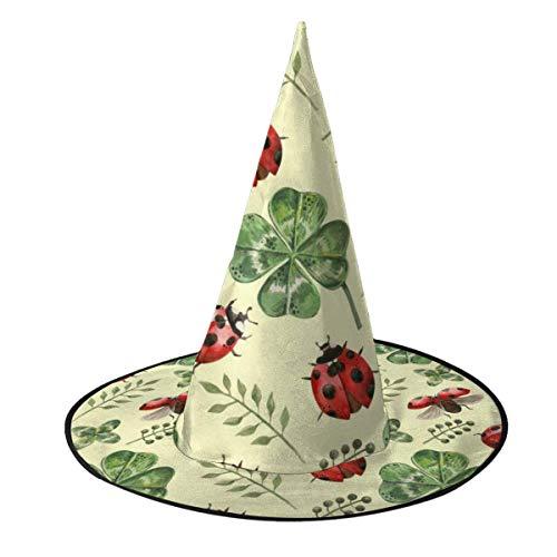 Disfraz de Halloween Sombrero de Bruja Hermosas Flores y Hojas de trbol Tapas de Mago con Luces Accesorio de Disfraces para Cosplay Fiesta de Halloween