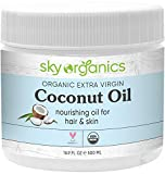 Organic Extra Virgin Coconut Oil by Sky Organics (16.9 oz) USDA Organic Coconut Oil Cold-Pressed Kosher Cruelty-Free Unrefined Coconut Skin Moisturizer Hair Mask