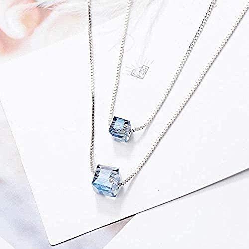 niuziyanfa Co.,ltd Halskette Eleganter Kragen Damen Einfache quadratische Aurora Kristall Glänzende Bunte Doppelwürfel Silber Schlüsselbein weibliche Halskette