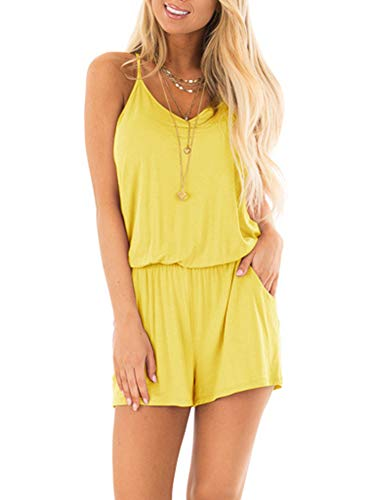 REORIA Womens Casual Summer One Piece Sleeveless Spaghetti Strap Playsuits Short Jumpsuit Beach Rompers Yellow Small