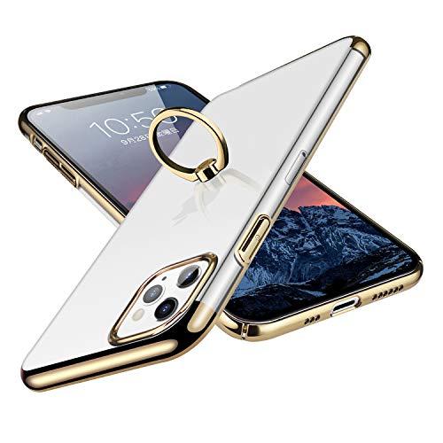 E Segoi iPhone 11 Pro ケース リング付き スタンド機能 メッキ加工 透明 PC 落下防止 耐衝撃 おしゃれ 高級感 薄型 軽量 一体型 全面保護カバー アイフォン11Proケース iPhone11 Pro リング ケース [5.8インチ] (iPhone 11 Pro, ゴールド)