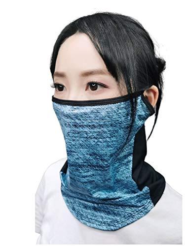 AthleX フェイスカバー ランニングマスク 息苦しくない UVカット 洗える 通気性 スポーツ 男女兼用 (ミストブルー, 立体F)