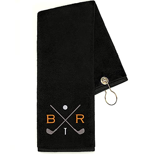 Lifetime Creations Monogrammed Golf Towel - Embroidered Personalized Golf Towel with Initials and Golf Clubs, Groomsman...