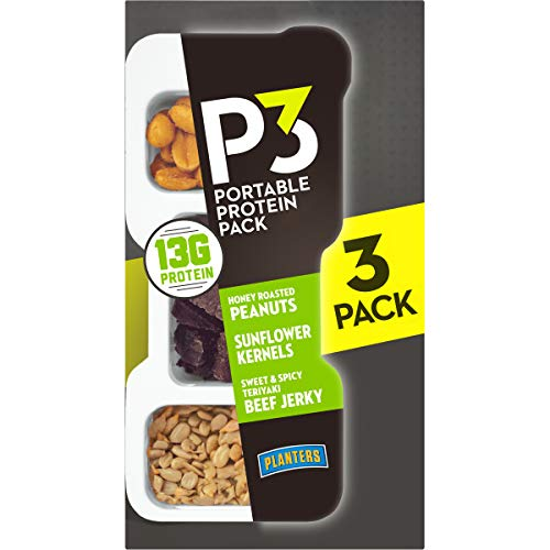 Planters P3 Peanuts, Teriyaki Beef Jerky & Sunflower Kernels Protein Pack (1.8oz Trays, Pack of 12)