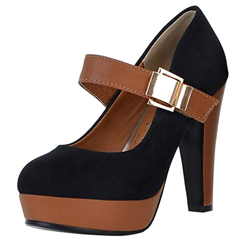 Read About Padaleks Women's High Heels Sandals Platform Retro Round Toe Patchwork Ankle Boots Buckle...