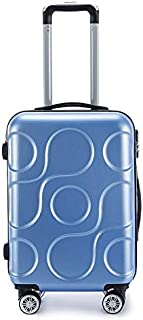 "SRY-Luggage ABS Material Trolley Case, Business Luggage, Roller Walking Scroll Box, 20"" 24"" Inches Durable Carry on Luggage (Color : Blue, Size : 20inch)"