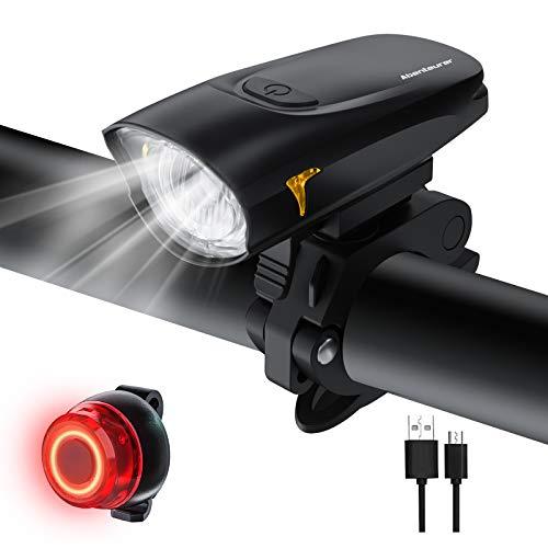 LED Fahrradlicht Set,Fahrradbeleuchtung USB Aufladbar Fahrradlampe Set,Aufladbar Fahrradlichter Rücklicht Wiederaufladbar mit 2 Licht-Modi Fahrradlampensets