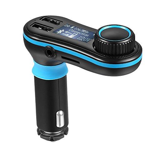 [Versione Aggiornata] Bluetooth da Auto Wireless MM37 AVANTEK, Kit Trasmettitore FM con Cavo Aux, Lettore Chiavette USB e Schede SD