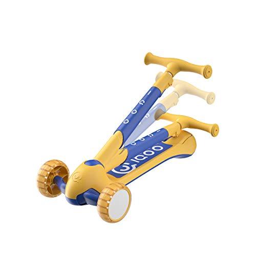 cycmoto 子供用 3歳から キックスクーター 幼児用 高さ調整可能 キックボード 光るホイール 折り畳み式 持ち運びに便利 足踏み式 ギフト イエロー
