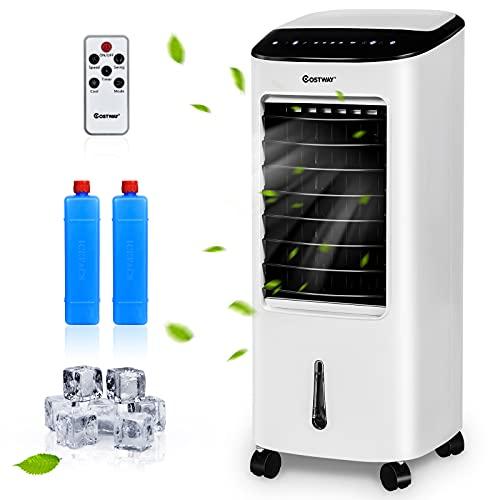 COSTWAY Raffreddatore d'Aria 3 in 1, Condizionatore Portatile con Telecomando, Air Cooler con 3 Velocità, 7.5H Timer e Schermo LED
