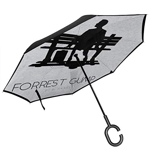 Forrest Gump Bench Movie Silhouette doppellagiger umgekehrter Regenschirm für Auto Rückwärtsklappbar auf der Rückseite C-förmige Hände – leicht und Winddicht