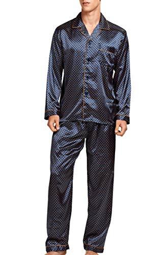 Herren Schlafanzug Pyjama Set Satin Nachtwäsche Langen Ärmel Loungewear (Blau Golden, L)