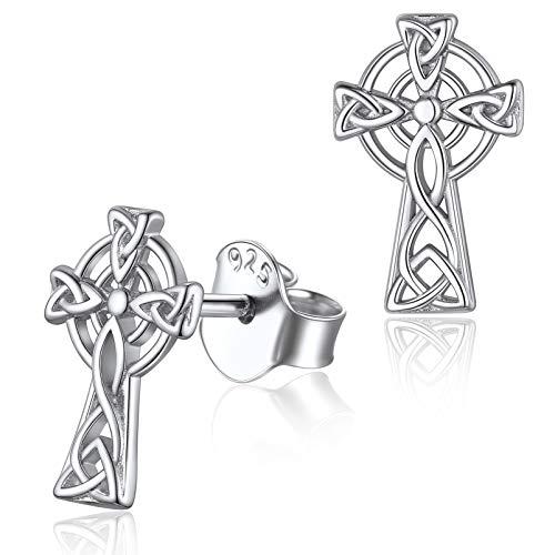 Silvora Pendientes Cruces Plata, Pendientes Vikingo Nordico Cruz Celta
