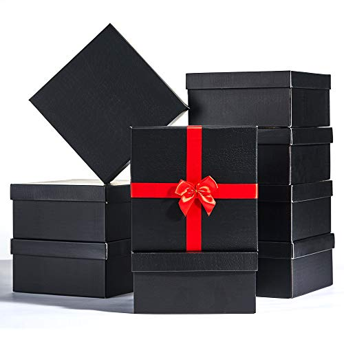 JCXPACK 12PCS 8 x 8 x 4 inches Elegant Black Gift Boxes,Rigid Gift Boxes with Lids, Black Present Packaging Box with Lids, Decorative Gift Wrap Boxes Bulk for Crafting