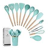 ZCOINS set di 12+1 utensili da cucina in silicone con manici e supporto in legno, set di utensili da cucina (verde)
