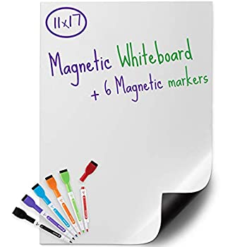 USA Made Magnetic Dry Erase Whiteboard Sheet 17  x 11  with a Set of 6 Markers