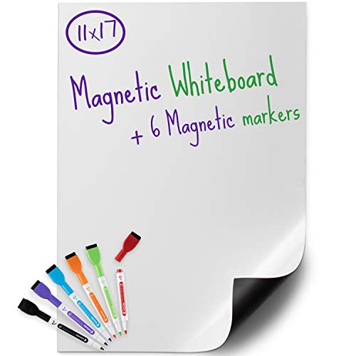 USA Made Magnetic Dry Erase Whiteboard Sheet 17' x 11' with a Set of 6 Markers