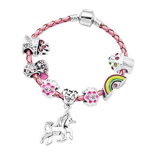 Braccialetto in pelle rosa da ragazza con charm e inserto a forma di unicorno in confezione regalo, placcato argento, cod. BRBIRTHDAYUNICORNPINK