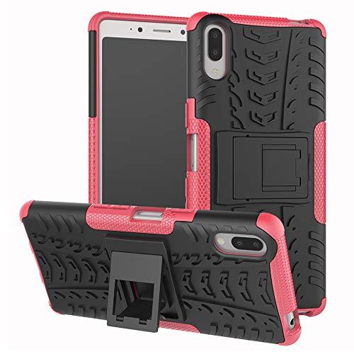 LFDZ Sony Xperia L3 Funda, Soporte Cáscara de Doble Capa de Cubierta Protectora Heavy Duty Silicona híbrida Caso Cover Funda para Sony Xperia L3 (No Encaja Sony Xperia L2),Rosa