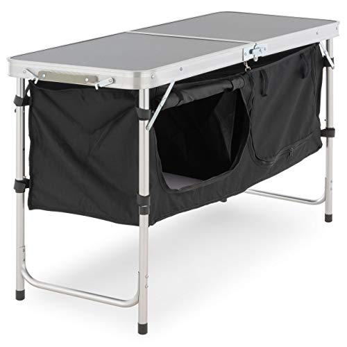 Nexos Campingschrank faltbar klappbar Campingtisch Zwei große Aufbewahrungsboxen Zelten Campen Grillen Oxford Stoff Aluminium Tragegriff