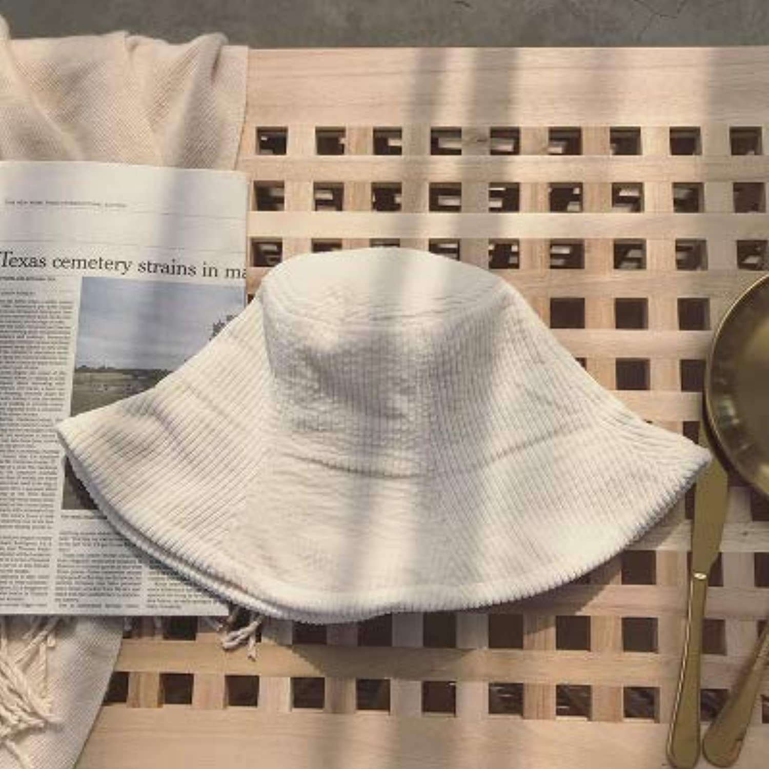 Home Fisherman hat Soft Sister Small Fresh Corduroy Cap Solid color Autumn and Winter Wild Pot hat (color   White, Size   M(5658cm)) Warm Soft and Comfortable Hats