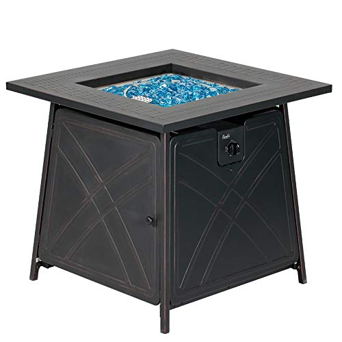 BALI OUTDOORS Firepit Gas Fireplace 28' Square Gas Fire Pit Table 50,000BTU Propane Fire Pits, Black