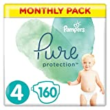 Baby Nappies Size 4 (9-14 kg / 20-31 lbs), Pure Protection (Harmonie), 160 Count, MONTHLY SAVINGS PACK, Premium Cotton & Soft Plant-Based Fibres Size 4 - B07LC1W9QD