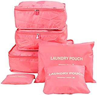 Six-Piece Pouch Travel Luggage Organiser Set, Pink