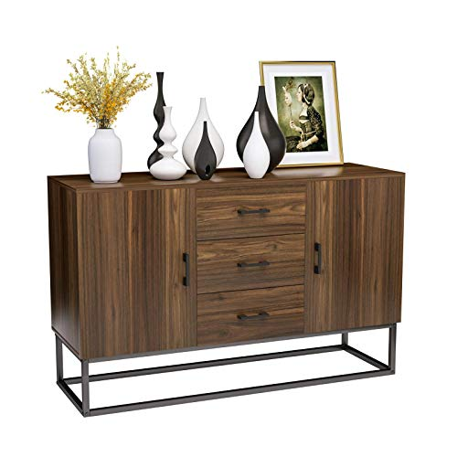 Mecor Sideboard Buffet Storage Cabinet, Industrial Style Sideboard, Top Buffet Storage Cabinet Collective Design 2 Doors and 3 Drawers w/Stable Iron Frame, Walnut Brown
